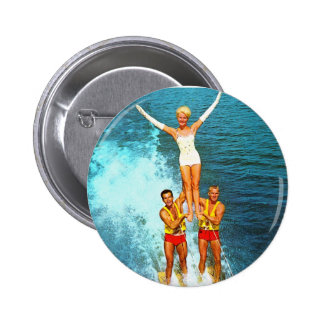 Vintage Retro Kitsch Women Dells Water Skiers 2 Inch Round Button