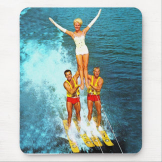 Vintage Retro Kitsch Women Dells Water Skiers Mouse Pad