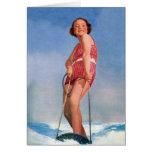 Vintage Retro Kitsch Women Water Skiing Boogie Card