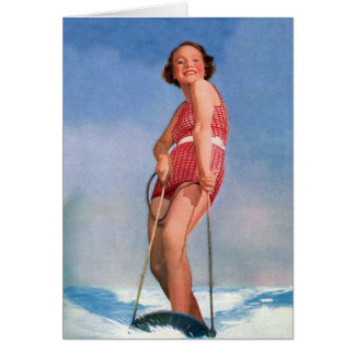 Vintage Retro Kitsch Women Water Skiing Boogie Card