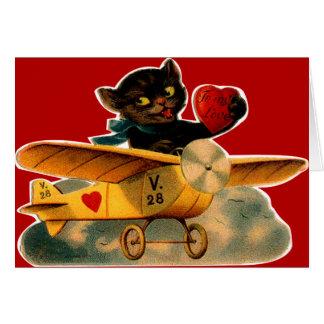 Vintage Retro Kitten In Airplane Valentine Card