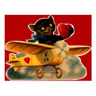 Vintage Retro Kitten In Airplane Valentine Postcard