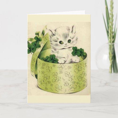 Vintage Retro Kitten Saint Patricks Day Card