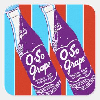 Vintage Retro Ktsch Beverages Oh-So Soda Bottle Square Sticker