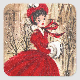 Vintage retro lady Christmas Holiday sticker