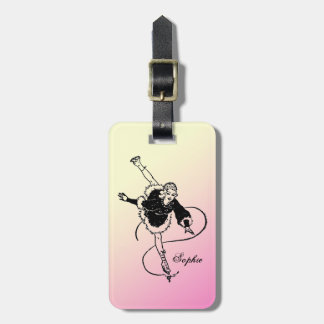 Vintage Retro Lady Figure Skating Personalized Travel Bag Tags