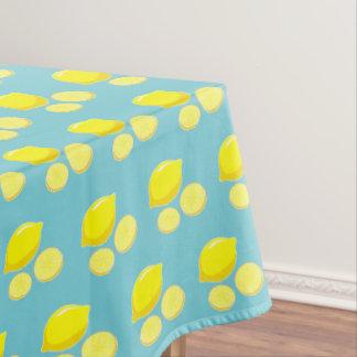 Vintage Retro Lemons Slices Pattern Yellow On Blue Tablecloth