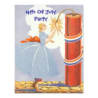 Vintage Retro Light Fire-Cracker Party Invitation