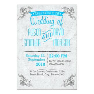 Vintage retro lightblue wedding invitation