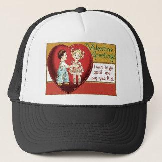 Vintage Retro Little Couple Valentine Card Trucker Hat