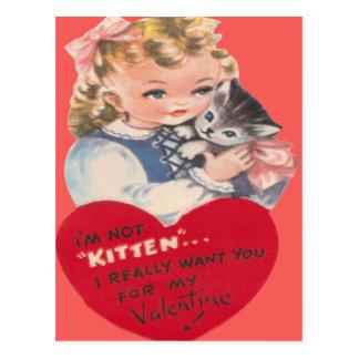 Vintage Retro Little Girl & Kitten Valentine Card Postcard