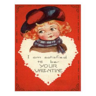 Vintage Retro Little Girl Valentine Card