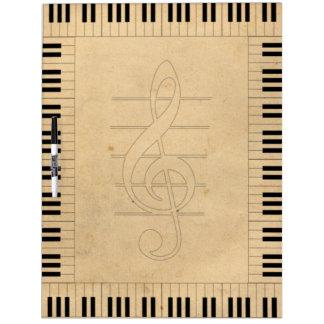 Vintage Retro Look keyboard and Violin Key G-Clef Dry-Erase Board