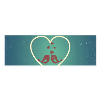 Vintage Retro Love Birds Hearts Teal BlueTurquoise Business Card