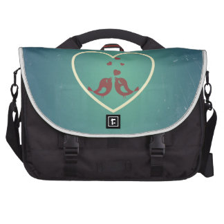 Vintage Retro Love Birds Hearts Teal BlueTurquoise Laptop Bag