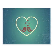 Vintage Retro Love Birds Hearts Teal BlueTurquoise Postcard