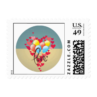 Vintage Retro Love Hearts Funny Valentine Balloons Postage Stamps