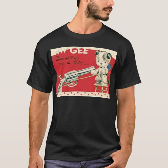 Vintage Retro Macbre Suicide Puppy Valentine Card T-Shirt