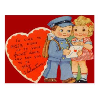 Vintage Retro Mailman Mailing Valentine Card