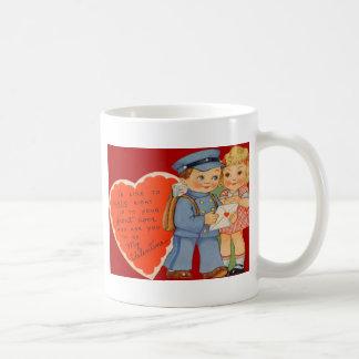 Vintage Retro Mailman Mailing Valentine Card Coffee Mug