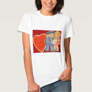 Vintage Retro Mailman Mailing Valentine Card T-shirt
