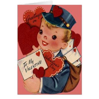 Vintage Retro Mailman Valentine Card