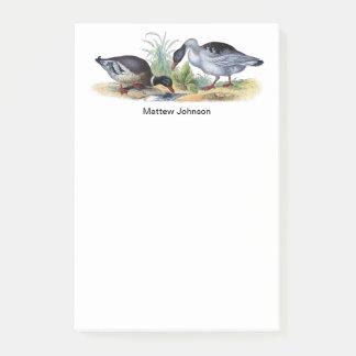 Vintage Retro Mallard Duck Print Optional Name Post-it Notes