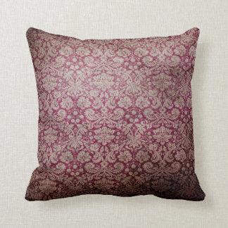 Vintage Retro Maroon Grunge Square Pillow Throw