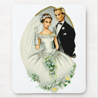 Vintage Retro Marriage 50s Just Married Couple Mouse Pad