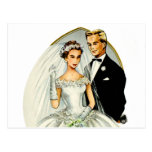 Vintage Retro Marriage 50s Just Married Couple Postcard