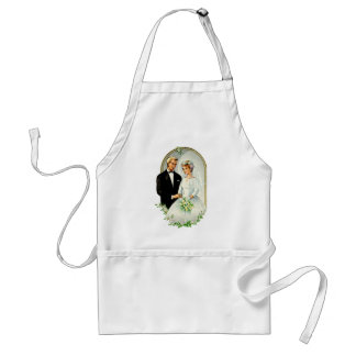 Vintage Retro Marriage 60s Just Married Couple Apron