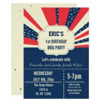 Vintage Retro memorial day birthday invitations