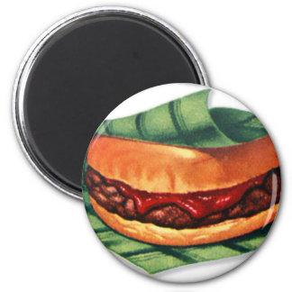 Vintage Retro Menu Hamburger Cheeseburger 2 Inch Round Magnet