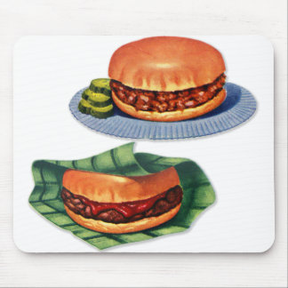 Vintage Retro Menu Hamburger Cheeseburger Mouse Pad
