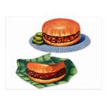 Vintage Retro Menu Hamburger Cheeseburger Post Card