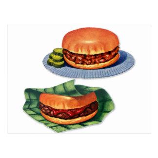 Vintage Retro Menu Hamburger Cheeseburger Postcard