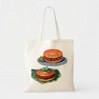 Vintage Retro Menu Hamburger Cheeseburger Tote Bag
