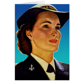 Vintage Retro Military Women WAVEs Navy Card
