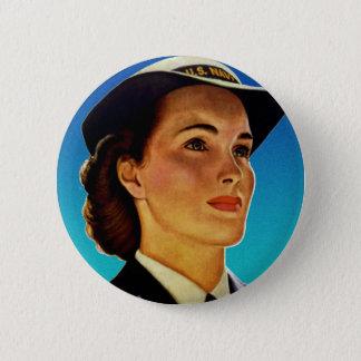 Vintage Retro Military Women WAVEs Navy Pinback Button