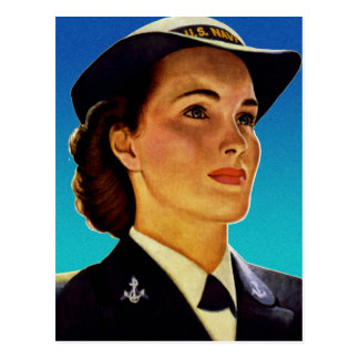 Vintage Retro Military Women WAVEs Navy Postcard