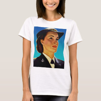 Vintage Retro Military Women WAVEs Navy T-Shirt