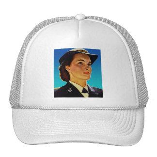 Vintage Retro Military Women WAVEs Navy Trucker Hat