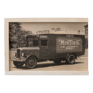 Vintage Retro Minties Candy Truck Photo Wooden Box