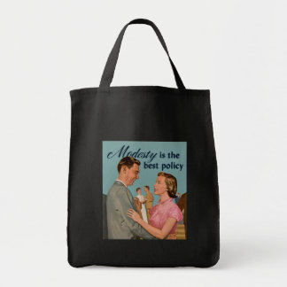 """Vintage Retro """"Modesty is the Best Policy"""" Grocery Tote Bag"""