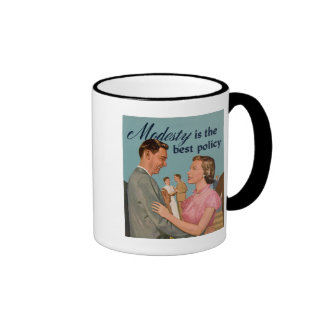 """Vintage Retro """"Modesty is the Best Policy"""" Ringer Coffee Mug"""