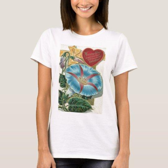 Vintage Retro Morning Glory Valentine Card T-Shirt