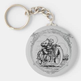 Vintage Retro Motorcycle Man Keychain