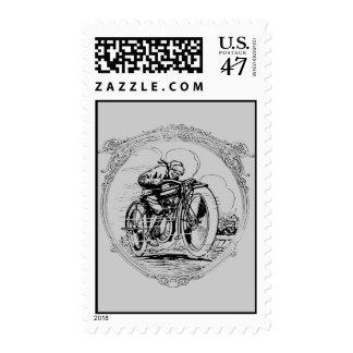 Vintage Retro Motorcycle Man Postage Stamps