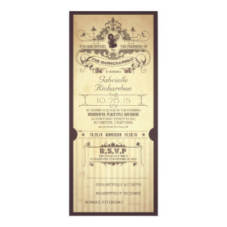 "Vintage retro movie tickets THE QUINCEAÑERO invite 4"" X 9.25"" Invitation Card"