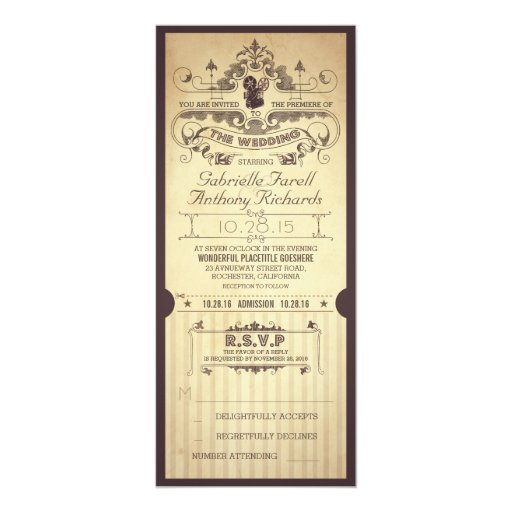 Movie Ticket Wedding Invitations for perfect invitations sample